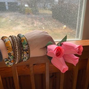 Jewelry - Gold Colored Floral Bangle Bracelets!